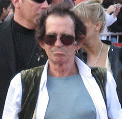 Picture of w:Keith Richards from the w:Pirates of the Caribbean: At World's End premiere at w:Disneyland. by Anthony Chu, via Wikimedia Commons